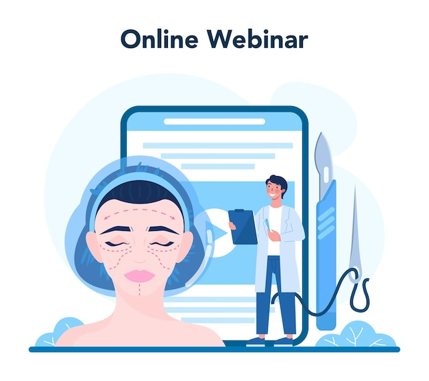 Servizio o piattaforma online di chirurgo plastico. idea di correzione del corpo e del viso. webinar online.