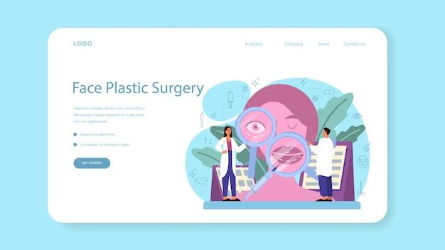 Banner web o pagina di destinazione del chirurgo plastico. idea di correzione del corpo e del viso. rinoplastica in ospedale e procedura antietà.