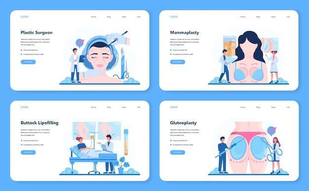 Banner web chirurgo plastico o set di pagine di destinazione