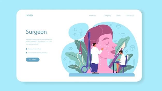 Banner web o pagina di destinazione del chirurgo plastico