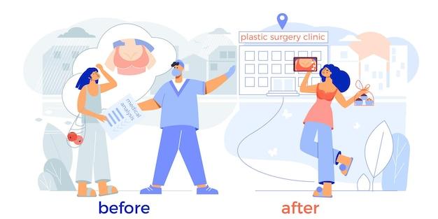 Ingrandimento del seno della chirurgia plastica prima dopo la composizione piatta con l'ingresso della clinica del chirurgo paziente felice