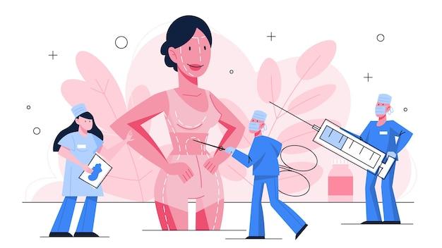 Concetto di chirurgia plastica. idea di correzione del corpo e del viso. rinoplastica in ospedale e procedura antietà. illustrazione