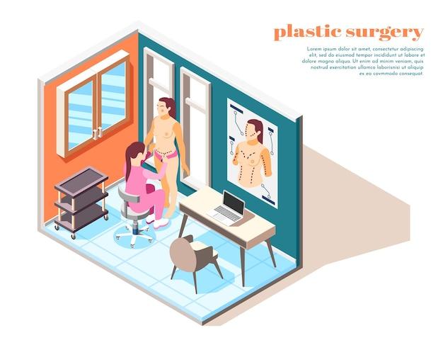 Illustrazione isometrica di chirurgia plastica