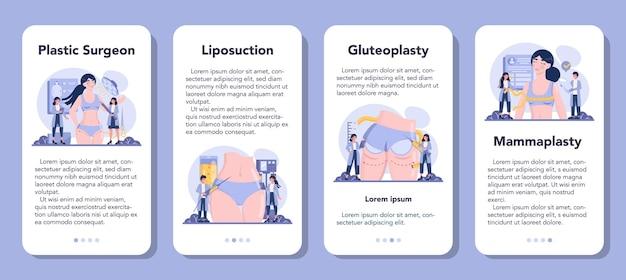 Set di banner per applicazioni mobili di chirurgia plastica