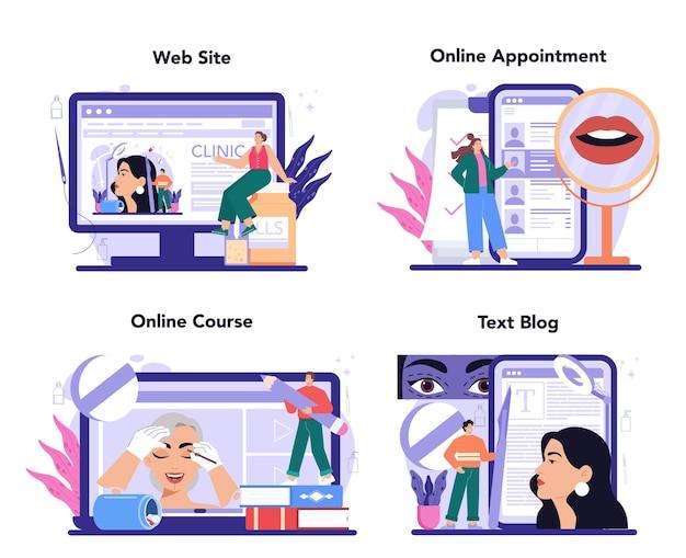 Il servizio o la piattaforma online di chirurgia plastica imposta l'estetica del viso moderna