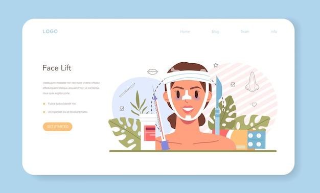 Banner web di chirurgia plastica o idea della pagina di destinazione dell'estetica moderna del viso