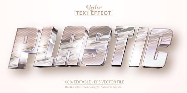 Testo di plastica, effetto di testo modificabile in stile lamina stropicciata di colore iridescente olografico