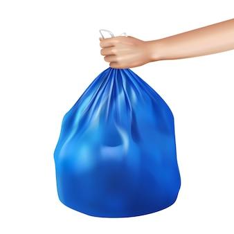 Sacchetto di plastica della spazzatura in mano illustrazione realistica della composizione