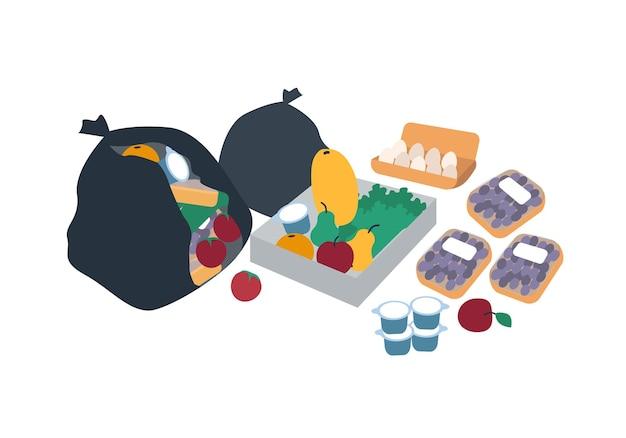 Sacchetti di plastica, scatole e pacchi pieni di cibo scartato per i freegani