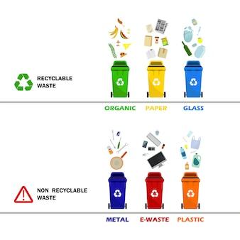 Contenitori per rifiuti in plastica di diversi tipi. contenitori per tutti i tipi di immondizia. bidoni della spazzatura per carta, elettronica di plastica per rifiuti alimentari in vetro