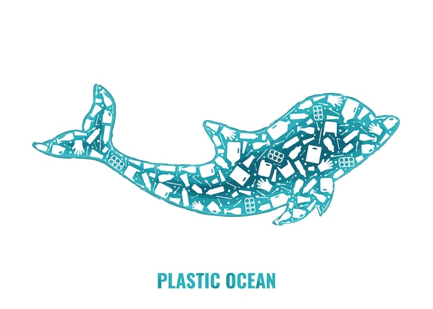 Immondizia di plastica pianeta inquinamento concetto illustrazione vettoriale delfino mammifero marino contorno riempito con
