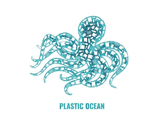 Illustrazione di vettore di concetto di inquinamento del pianeta spazzatura di plastica. polpo mollusco marino contorno