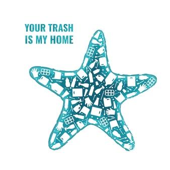 Rifiuti di plastica pianeta inquinamento concetto illustrazione vettoriale stelle marine oceano contorno animale riempito con