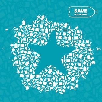 Illustrazione di vettore di concetto di inquinamento del pianeta spazzatura di plastica. profilo di animali dell'oceano di stelle marine