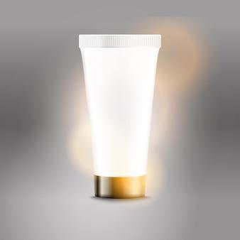 Modello di vettore di pubblicità del tubo di plastica. modello di bottiglia di crema per logo del marchio e sfondo lucido