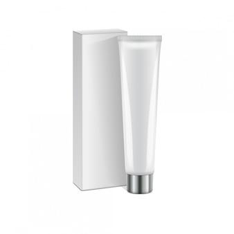 Tubo di plastica con cappuccio d'argento e scatola bianca per medicina o cosmetici - crema, gel, cura della pelle, dentifricio.