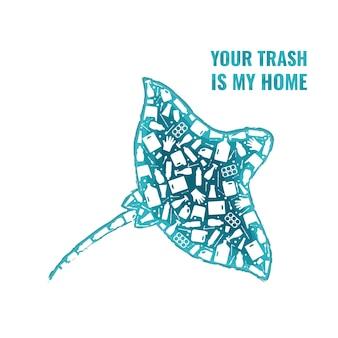Rifiuti di plastica oceano ambiente problema concetto illustrazione vettoriale ray pesce marino contorno riempito
