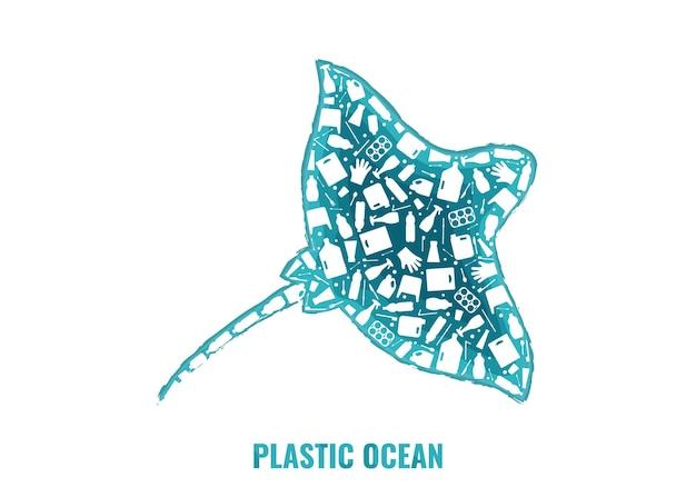 Rifiuti di plastica oceano ambiente problema concetto illustrazione vettoriale. contorno di pesce oceano ray