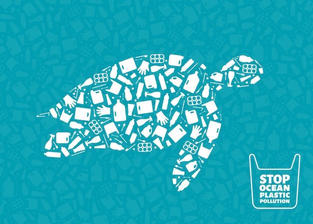 Rifiuti di plastica oceano ambiente problema concetto illustrazione vettoriale tartaruga rettile marino outline