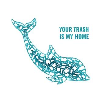 Rifiuti di plastica oceano ambiente problema concetto vettore llustration delfino mammifero marino silhouette