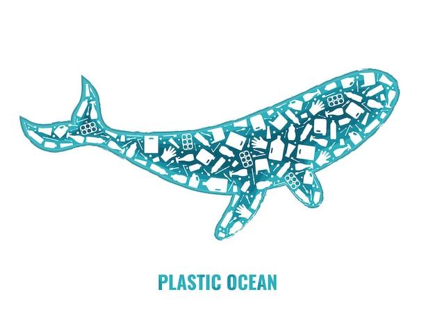 Rifiuti di plastica oceano ambiente problema concetto vettore llustration balena mammifero marino silhouette