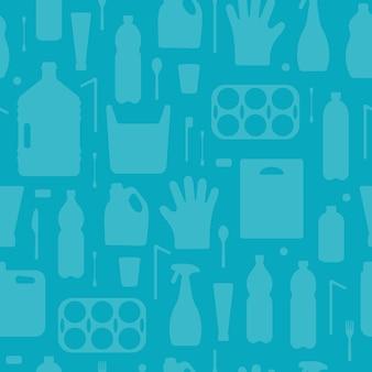Rifiuti di plastica inquinamento oceanico senza cuciture illustrazione vettoriale problema eco inquinamento delle acque cestino