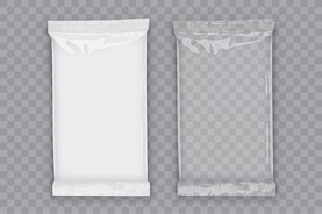 Imballaggio di flusso bianco in plastica con ombre trasparenti isolate