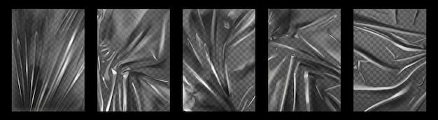 Involucro di plastica. film in polietilene stropicciato e stirato per imballi. trama di piega trasparente del sacchetto di cellophane. insieme di vettore di involucri rugosi. film estensibile formato a4 con effetto stropicciato