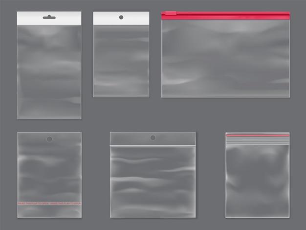 Sacchetti di plastica trasparenti dell'insieme isolato mockup realistico di vettore del sacchetto della chiusura lampo di plastica con la chiusura lampo appiccicosa
