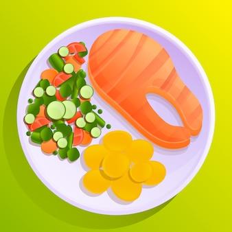 Piatto di pesce con patate e insalata di verdure