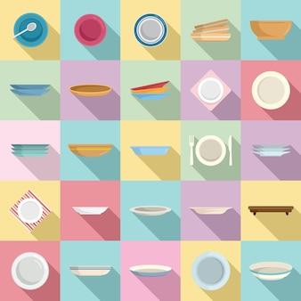 Piatto set di icone vettore piatto. posate da cibo