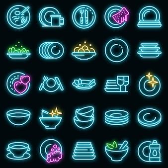 Piatto set di icone vettoriali neon