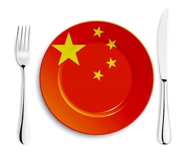 Piatto con bandiera cinese