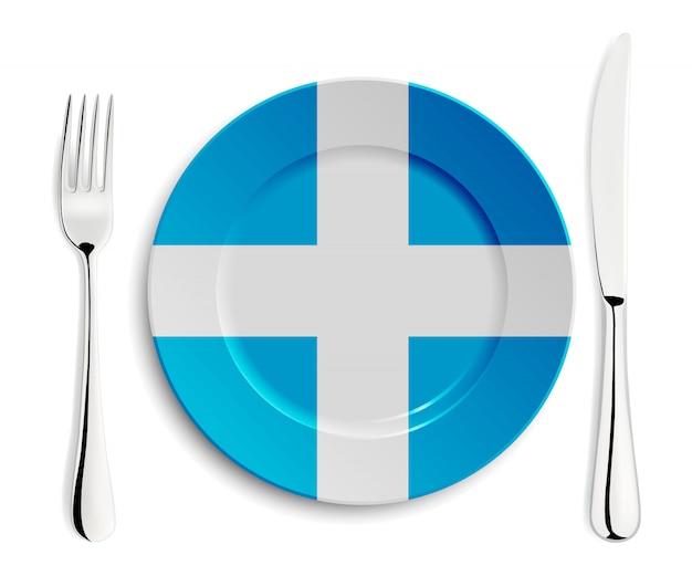 Piastra con bandiera della grecia