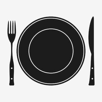 Piatto con forchetta e coltello. posate. posto per mangiare. illustrazione vettoriale.