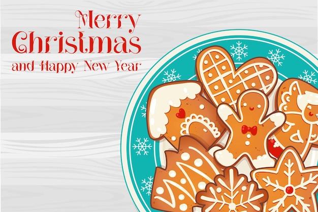 Piatto con i biscotti di natale del pan di zenzero sulla tavola di legno. illustrazione vettoriale vista dall'alto per il nuovo anno e il design delle vacanze invernali.