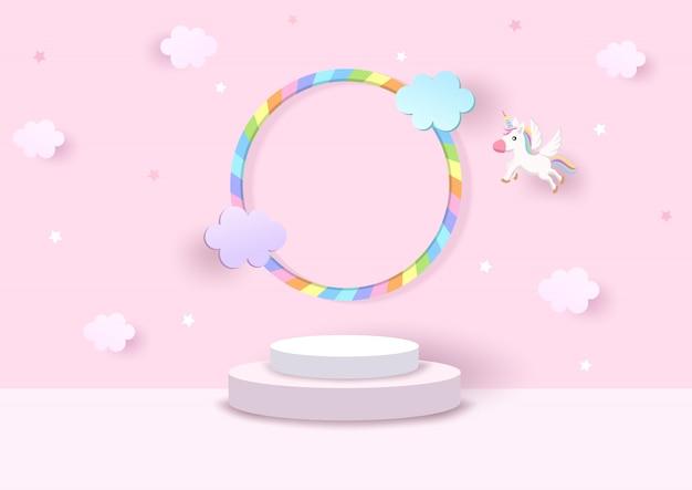 Piattaforma 3d con arcobaleno e unicorno in rosa