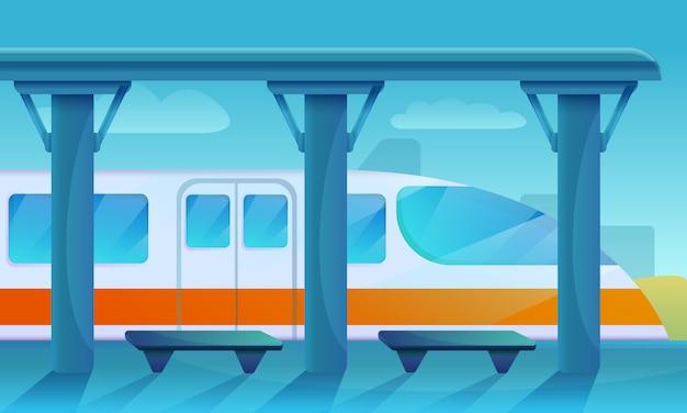 Piattaforma della stazione ferroviaria, illustrazione