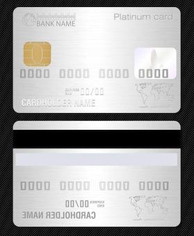 Carta di credito con texture metallo platino