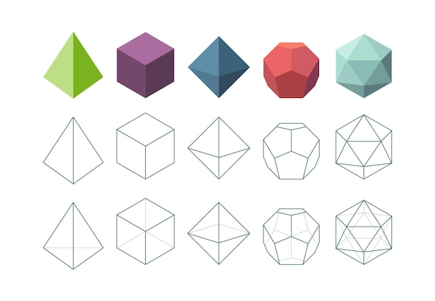 Solido platonico. insieme di vettore di forme geometriche oggetto 3d. forma piramidale poligonale, figure geometriche platoniche e poliedriche