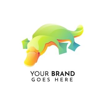 Modello di logo piatto animale ornitorinco