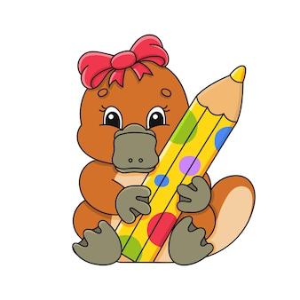 Ragazza ornitorinco con pensil personaggio dei cartoni animati