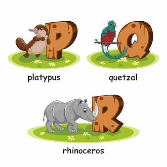 Platypus quetzal rhinoceros alfabeto in legno animali