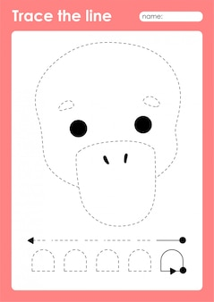 Platypus - foglio di lavoro prescolare di linee di tracciamento per bambini per praticare abilità motorie