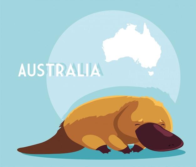 Ornitorinco con mappa dell'australia
