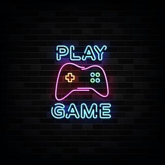 Gioca alle insegne al neon del gioco. insegna al neon del modello di progettazione
