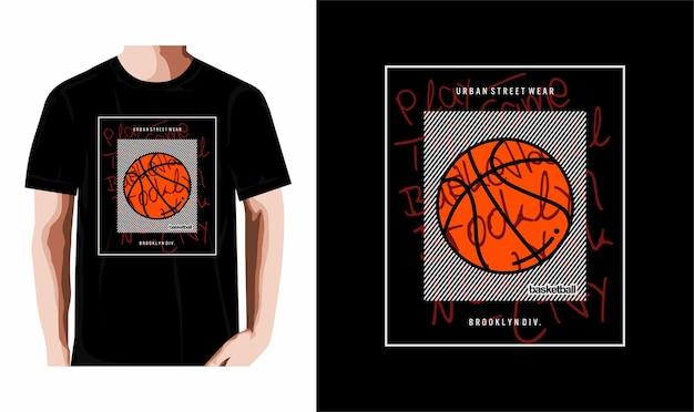 Gioca al gioco tipografia basket tshirt design premium vector