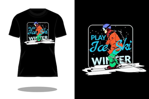 Gioca al design vintage della maglietta con lo sci sul ghiaccio