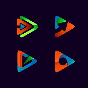 Gioca al design del logo del pacchetto di icone