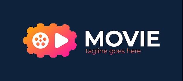 Icona di riproduzione con logo dell'ingranaggio video - società cinematografica realizzata. lettore di canali video.